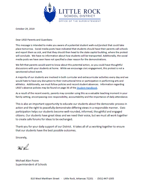 Parent Letter from Supt. Mike Poore